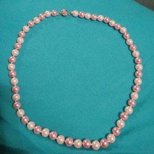 Pink and light pink 8mm shell pearl necklace